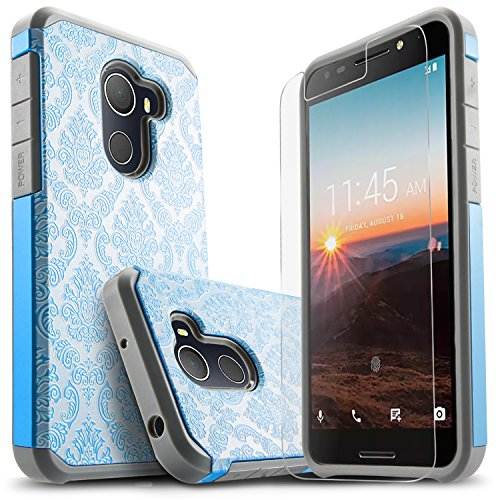 T-Mobile REVVL Case, Alcatel A30 Plus Case, Alcatel A30 Fierce Case, Jitterbug Smart 2 Case, with [Premium Screen Protector] Starshop [Shock Absorption] Dual Layers Protective Phone Cover -Blue Lace