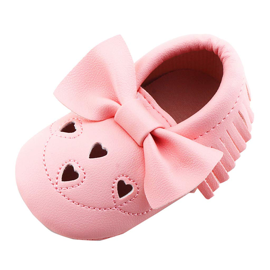 Dinlong Summer Soft Sandals Newborn Infant Baby Girl Cute Bowknot Fashion Love Heart Shape Shoes Soft Sole Anti-Slip Sneakers