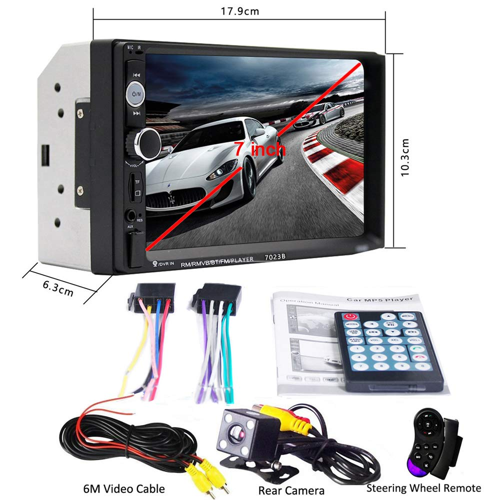 17.8 cm 2 Din Car Audio Estéreo Bluetooth Touch Reproductor MP5 USB FM Teléfono Android Enlace de espejo Multimedia Radio + 4 LED Mini cámara de visión ...