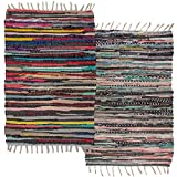 Simply Living (2 Pack Cotton Rag Chindi Rug Multi-Color Woven Small Area Rugs Living Room Outdoor Rug Rustic