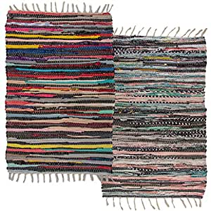 2 pack cotton rag chindi rug multi color - Small area rugs for living room ...
