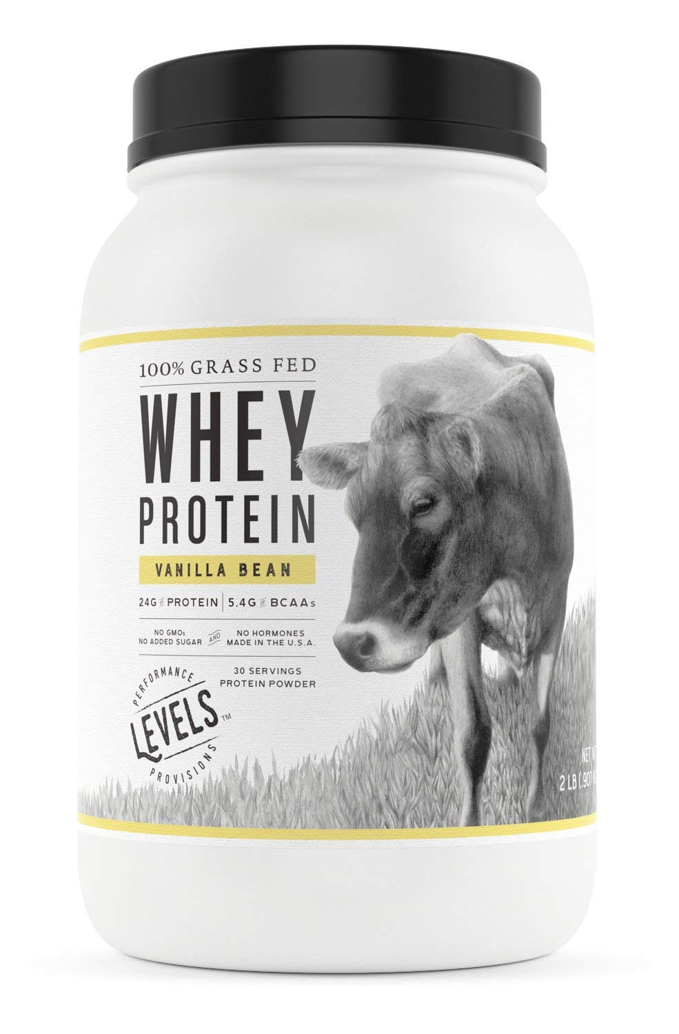 Levels 100% Grass Fed Whey Protein, No GMOs, Vanilla Bean, 2LB by Levels Nutrition