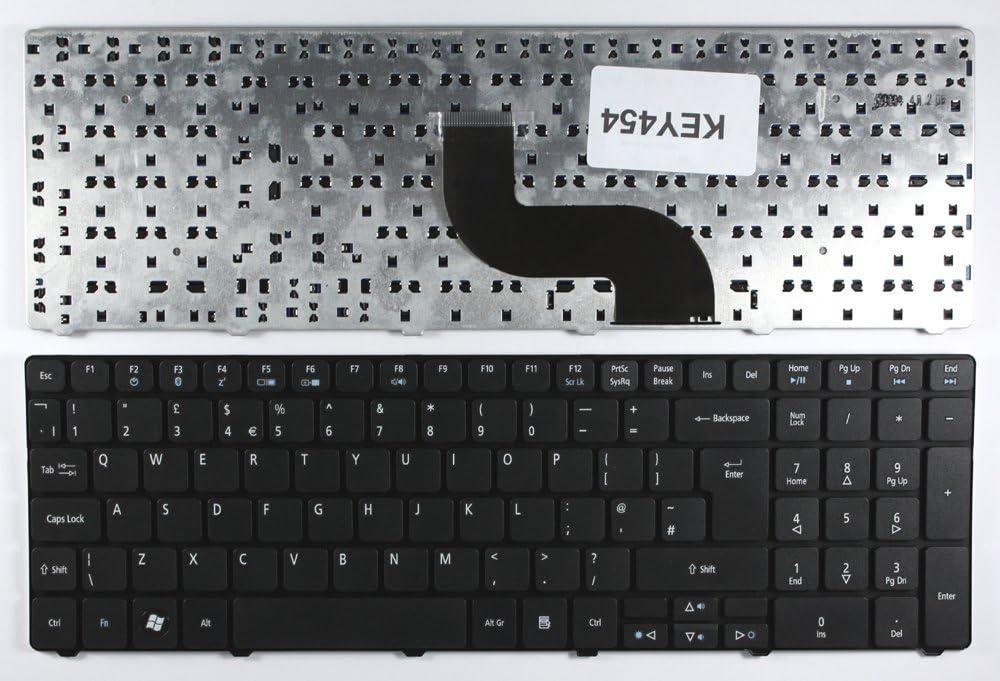 Keyboards4Laptops UK Layout Black Laptop Keyboard Compatible with Acer Aspire 5739G, Acer Aspire 5800, Acer Aspire 5810, Acer Aspire 5810T, Acer Aspire 7331