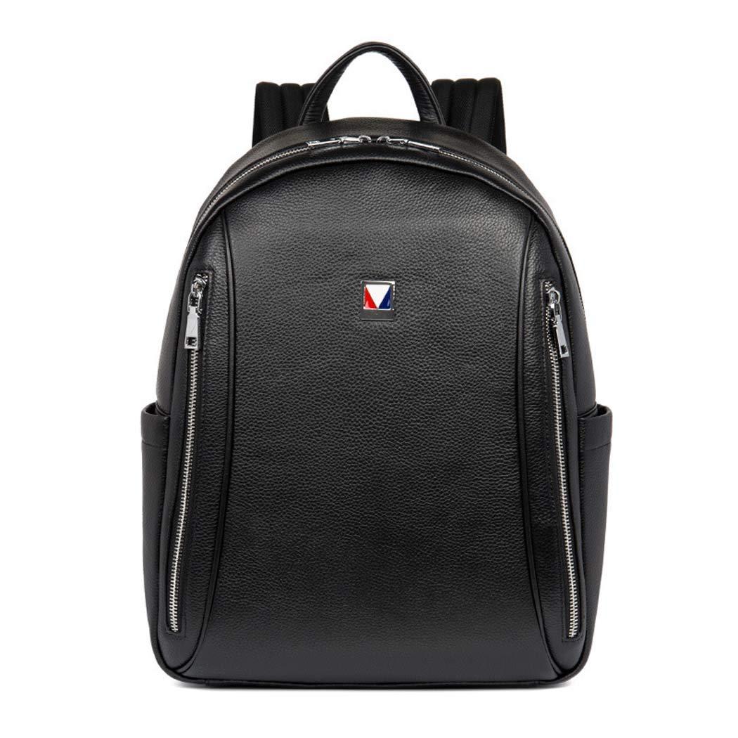 メンズレザーバックパックカジュアルバックパック防水ウェアラブル旅行バックパックビジネスバックパック  Black B07H6DKL3F