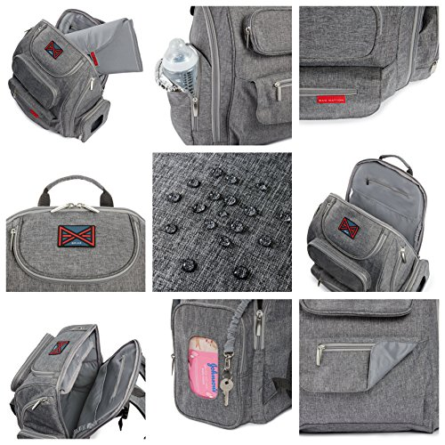 bag nation diaper bag backpack with stroller straps changing pad and sundry bag grey buy. Black Bedroom Furniture Sets. Home Design Ideas