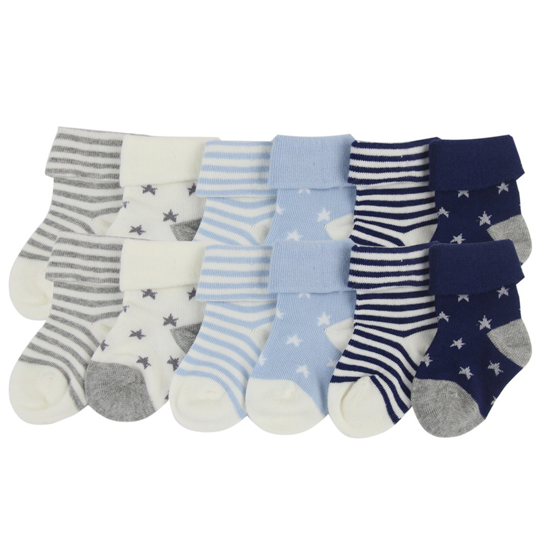 Unisex Baby Boy's Girl's Soft Cotton Knit socks, YULI Navy Terry Heather Turn Cuff Crew Bootie Socks 6-18 Months 12 Pairs