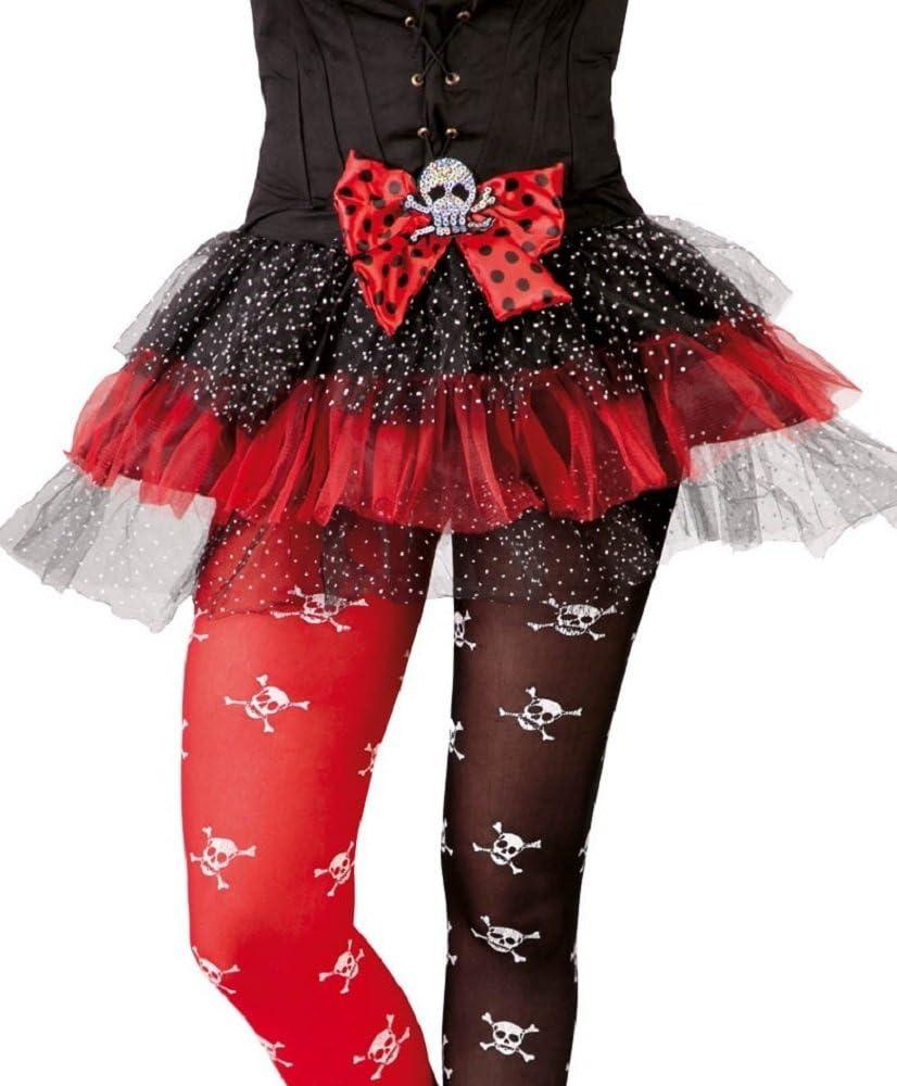 Mujer Sexy Negro y Rojo de lazo de calavera Pirata tutú Halloween ...