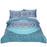 Sleepwish 4 Pcs Bohemian Luxury Boho Bedding Crystal Arrays Bedding Quilt Bedspread Mandala Hippie Duvet Cover Set Twin Size