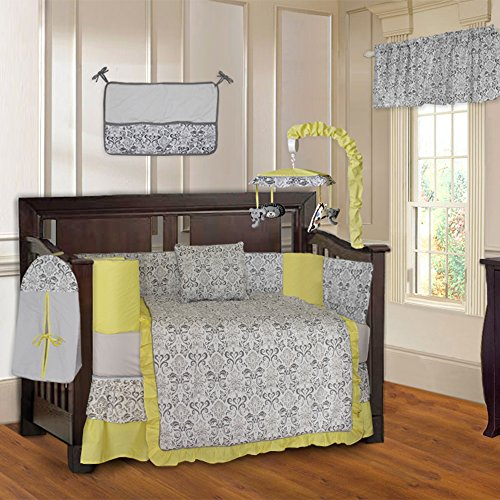 BabyFad Damask Yellow 10 Piece Baby Crib Bedding Set