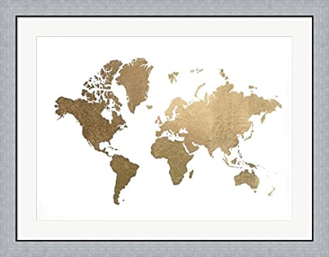 Amazon gold foil world map metallic foil by jennifer gold foil world map metallic foil by jennifer goldberger framed art print wall picture gumiabroncs Images