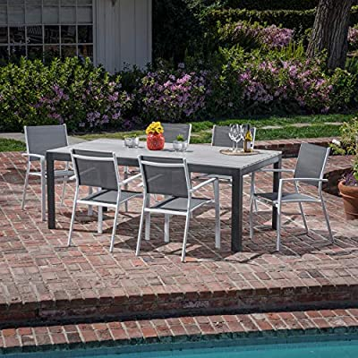 "Hanover Tucson 7-Piece Dining Set with 6 Sling Arm Chairs and a Faux Wood Dining Table - Set includes 6 sling chairs and a 40"" x 78"" Dining Table Made with all-weather materials that will last Year after Year Lightweight chairs are Stackable for easy storage - patio-furniture, dining-sets-patio-funiture, patio - 61JXyITBnTL. SS400  -"