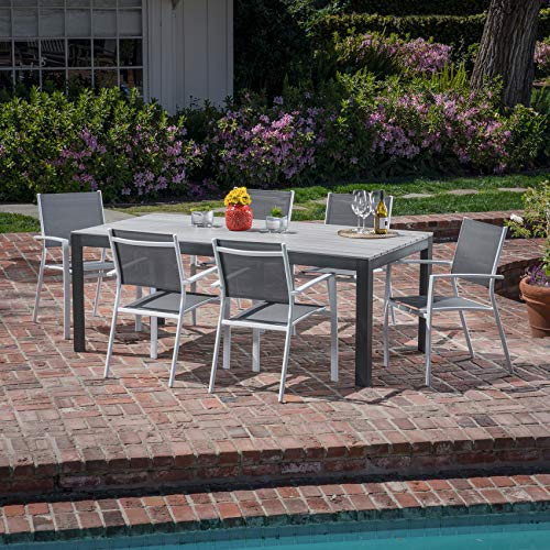Hanover TUCSDN7PC-WHT, Gray Outdoor Furniture (Patio Depot Dining Set Home)