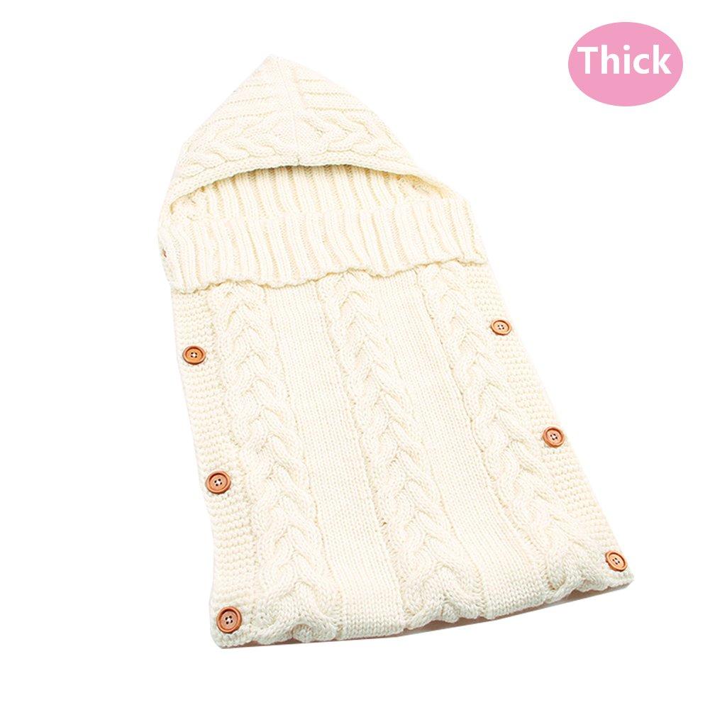 LANSHULAN Newborn Baby Blanket Toddler Sleeping Bag Sleep Sack Stroller Wrap (#05 White)