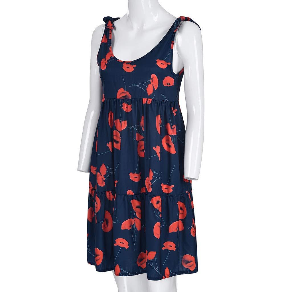 Wave166 Vestido de Moda de Las Mujeres Rayas causales Gasa Suelta ...