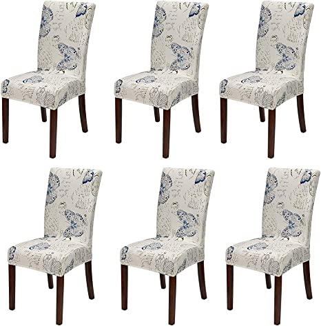 Amazon Com Jotom 6 Pack Super Stretch Printed Dining Chair Covers Seat Protector Spandex Removable Washable Short Dining Chair Cover Decoration Seat Slipcovers For Home Hotel Banquet Wedding Party Butterfly Kitchen Dining