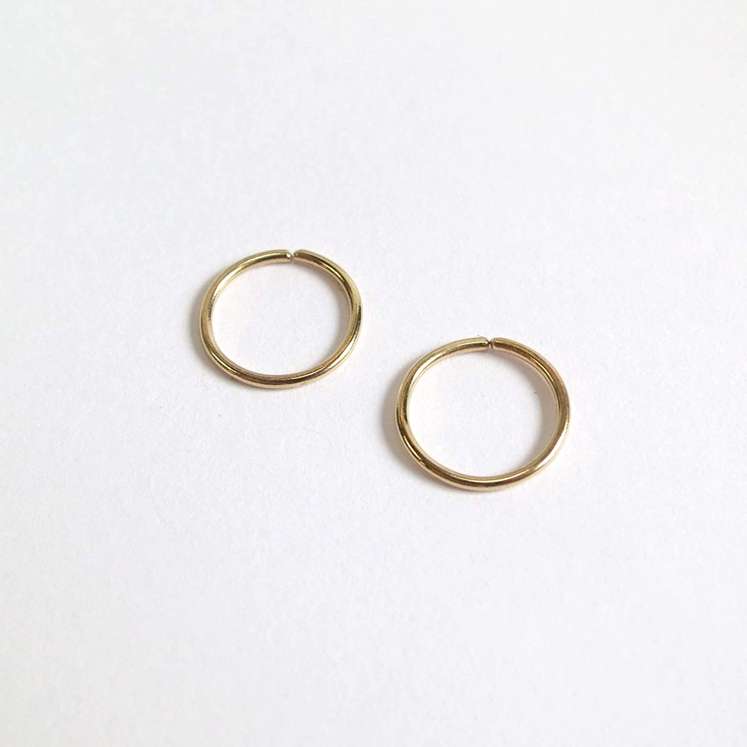 Lip Small 9ct Gold Hoop Earrings Eyebrow PAIR 8mm Sleepers 9k Solid Gold Continuous Hoops Nose Ring Cartilage