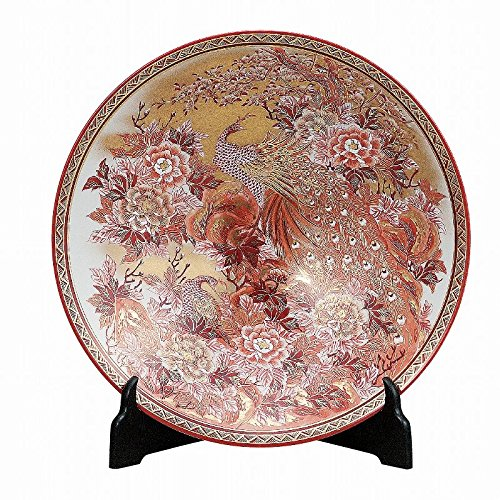 Jpanese traditional ceramic Kutani ware. Decorative Plate with a stand. Funds red peony peacock. With wooden box. ktn-K5-1401