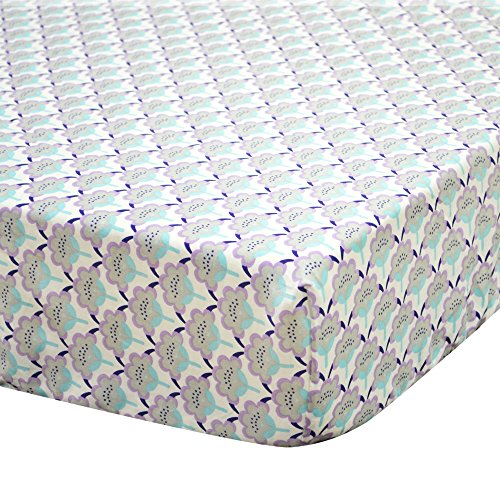 Zoe Scallop Floral Cotton Crib Fitted Sheet (Aqua And Purple Crib Bedding)