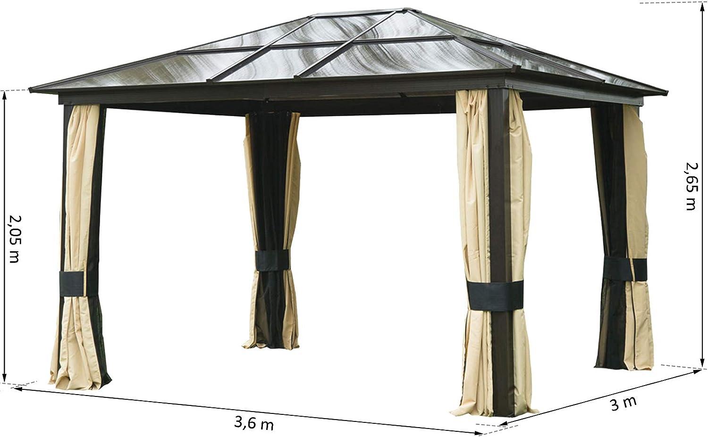 Outsunny Carpa Cenador para Jardín Gazebo Exterior para Evento Estable Anti-UV Techo Policarbonato 4 Paravientos Mosquitera Integrada Aleación de Aluminio 300x360x265 cm: Amazon.es: Jardín