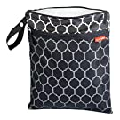 Skip Hop Baby Grab and Go Wet / Dry Reusable Diaper Bag with Waterproof Lining and Attachable Strap, Black Onyx Tile