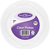 """Royal Crown Plastic Plates - 7""""   Clear   Pack of 40"""
