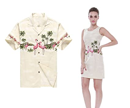 053e58b6 Made in Hawaii Couple Matching Hawaii Luau Aloha Shirt Tank Dress in Pink  Flamingos in Cream at Amazon Men's Clothing store: