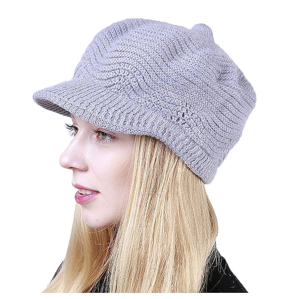 Light Grey Molodo Women's Winter Warm Slouchy Cable Knit Beanie Hat Ski Caps Visor