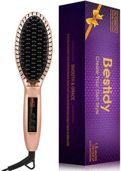 Cepillo alisador de cabello Bestidy, plancha alisadora de cerámica antiquemaduras, pantalla LCD, para cabello sedoso (dorado): Amazon.es: Belleza
