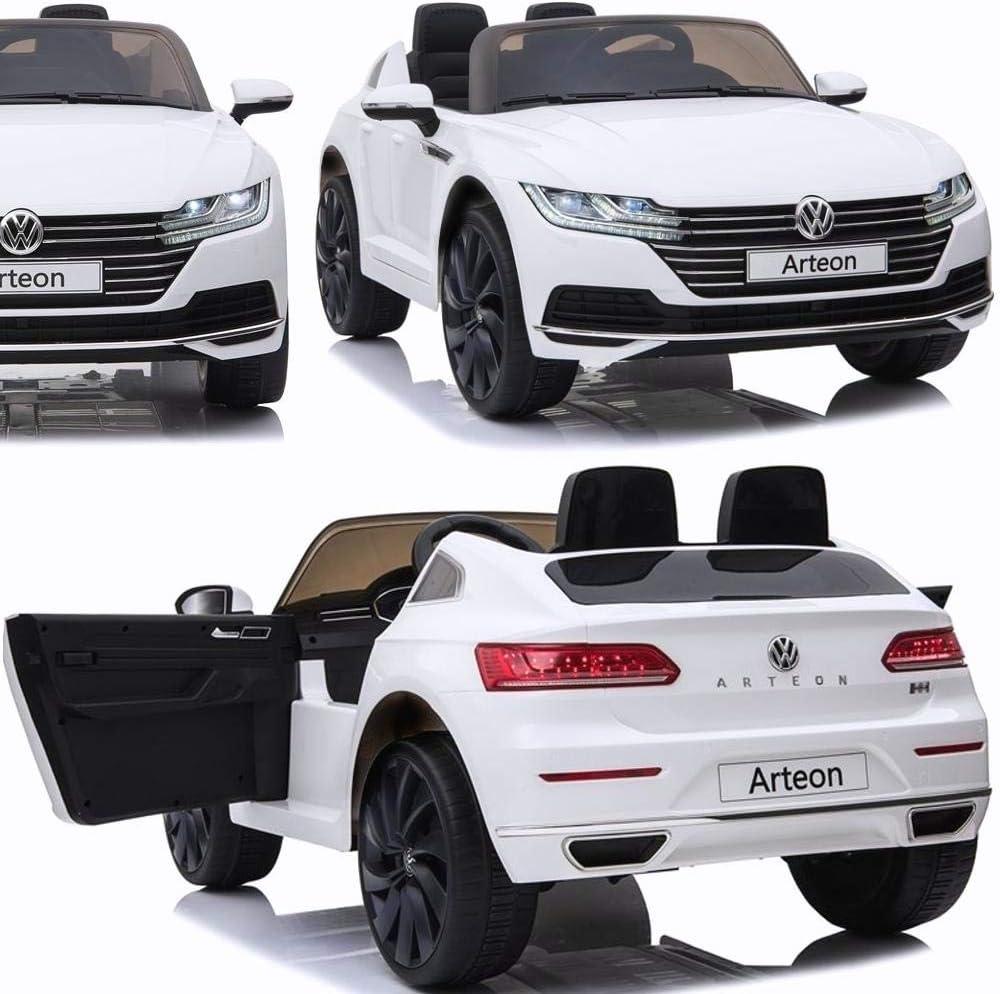 2x45W Zweisitzer BPD Elektroauto f/ür Kinder elektrisches Kinderauto VW Arteon Lizensiert Doppel-Ledersitz Radio Eva-Reifen Bluetooth