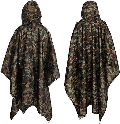 alfombrilla para el suelo de la tienda camping capa impermeable de camuflaje para senderismo lona para sombrilla impermeable unisex Yesloo Poncho impermeable extralargo multifuncional 3 en 1
