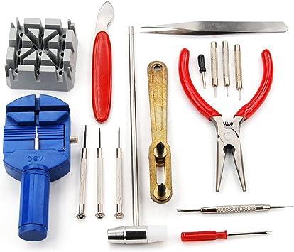 REY Kit de 16 Herramientas de Relojero para la Reparación de Relojes: Amazon.es: Electrónica