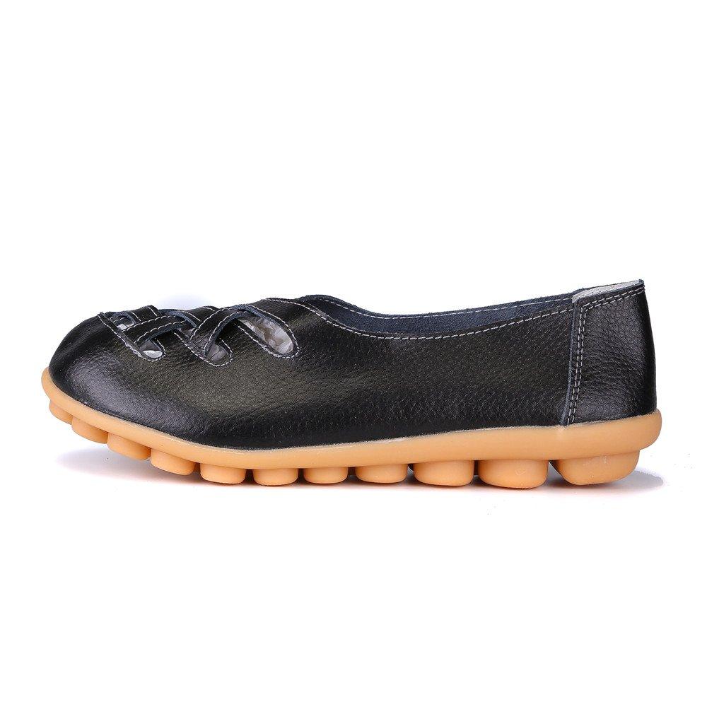 MXTGRUU Women's Casual Comfortable Walking Shoes with Criss Cross B07DJCJXYT 10 B(M) US|Black