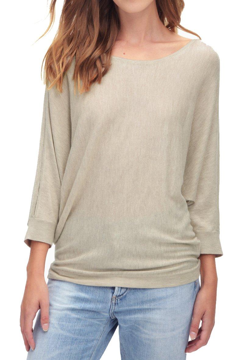 Splendid Women's Bailey Sweater with Shoulder Slits Heathered Wheat Sweater LG (Women's 10-12)