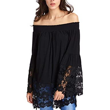 d70e3a0aabdd60 TWIFER Women Off Shoulder Cold Shoulder Shirt Tee Top Blouse White Black  Long Sleeve Sweatshirt Fall Lace Patchwork Loose Maternity Lady Casual  Beachwear ...