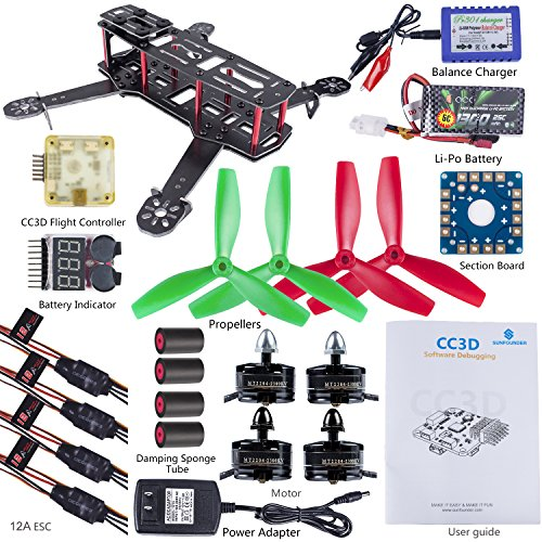 SunFounder 250 FPV Quadcopter Drone Frame Kit CC3D ESC Simon 12A Motor MT2204 Glass Fiber Racing Flying 4-Axis Propellers Battery...