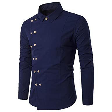 20722671 Men's Shirts,Mens 100% Cotton Casual Long Sleeve T-Shirt Slim Fit Shirt  Button Down Dress Shirt Top Tees (Navy, L): Amazon.co.uk: Clothing