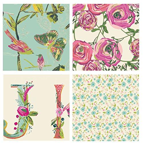 Fabric 4 Fat Quarters (4 FABRIC BUNDLE - Joie de Vivre - Bari J. - Art Gallery Fabrics - Alphabet Birds Butterflies Flowers Pastels (Fat quarters))