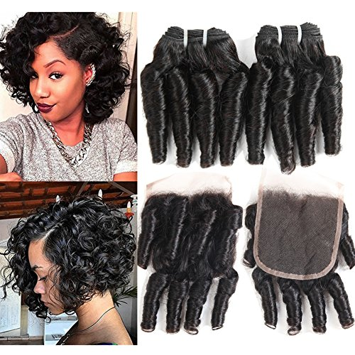 Four Day Sale Lace - Molefi Brazilian Funmi Hair Curly Weave 4 Bundles with Lace Closure Spiral Curl Hair Bundles with 4x4 Closure 100% Human Hair Extensions 50g/pc Natural Black (8 8 8 8 +8)