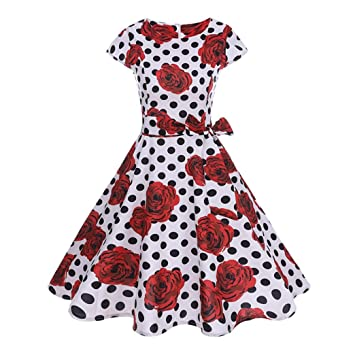 bda3e4e9d0e Hot Sale Vintage Women Dress Daoroka Sexy 1950s Polka Dot Floral Short  Sleeve Evening Party Dress