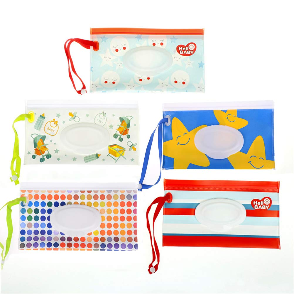 NIU MANG 5PCS Reusable Wet Wipe Pouch Travel Wet Wipe Case Wipes Dispenser Baby Eco Friendly Wipe Pouches Unte Weathy