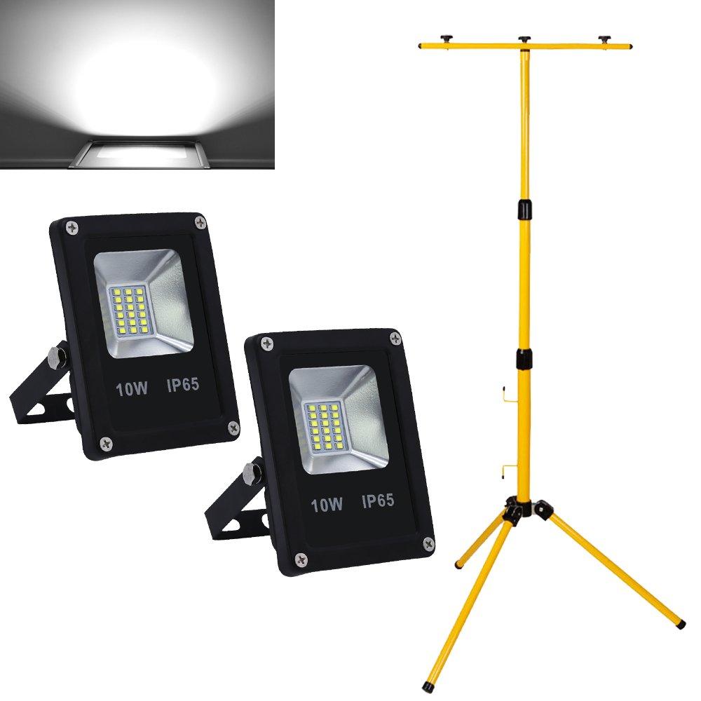 HG® 2X 10W Blanc froid Projecteur LED + Teleskop trépied IP65 Waterproof Eclairage Extérieur LED huigou