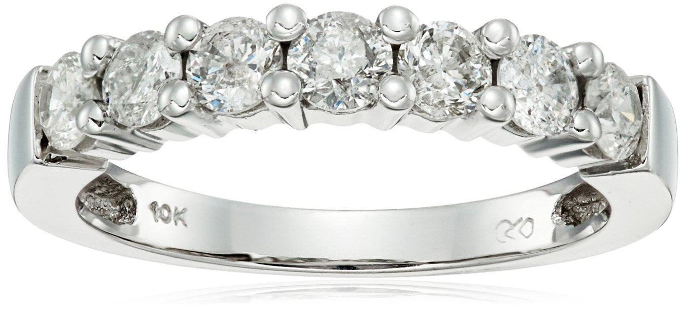 10k White Gold Round-Cut 7-Stone Ring (3/4 cttw, H-I Color, I2-I3 Clarity), Size 6 by Amazon Collection