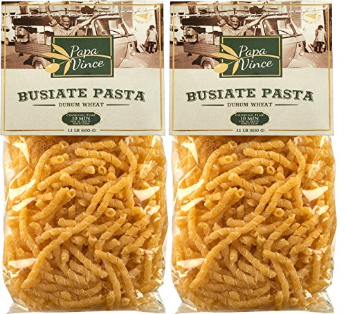 Busiate Pasta from Italy, made in Sicily with ancient seeds by local artisans | NON GMO | WHOLE GRAIN | NO ENRICHED | AL DENTE macaroni holds seafood sauce like a magnet (1.1 lb 2-Packs) - Papa Vince
