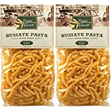 Busiate Pasta Sicily Italy artisan - made with ancient seeds by locals   NON GMO   WHOLE GRAIN   NO ENRICHED   AL DENTE macaroni holds seafood sauce like a magnet (1.1 lb 2-Packs) - Papa Vince