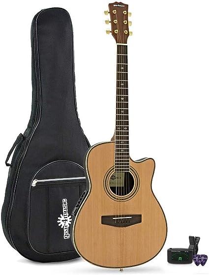 Guitarra electroacústica redonda de Gear4music, natural, para ...