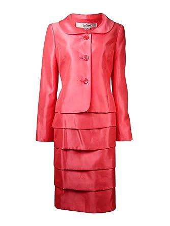 Amazon Com Le Suit Womens Shantung 2pc Skirt Suit Clothing