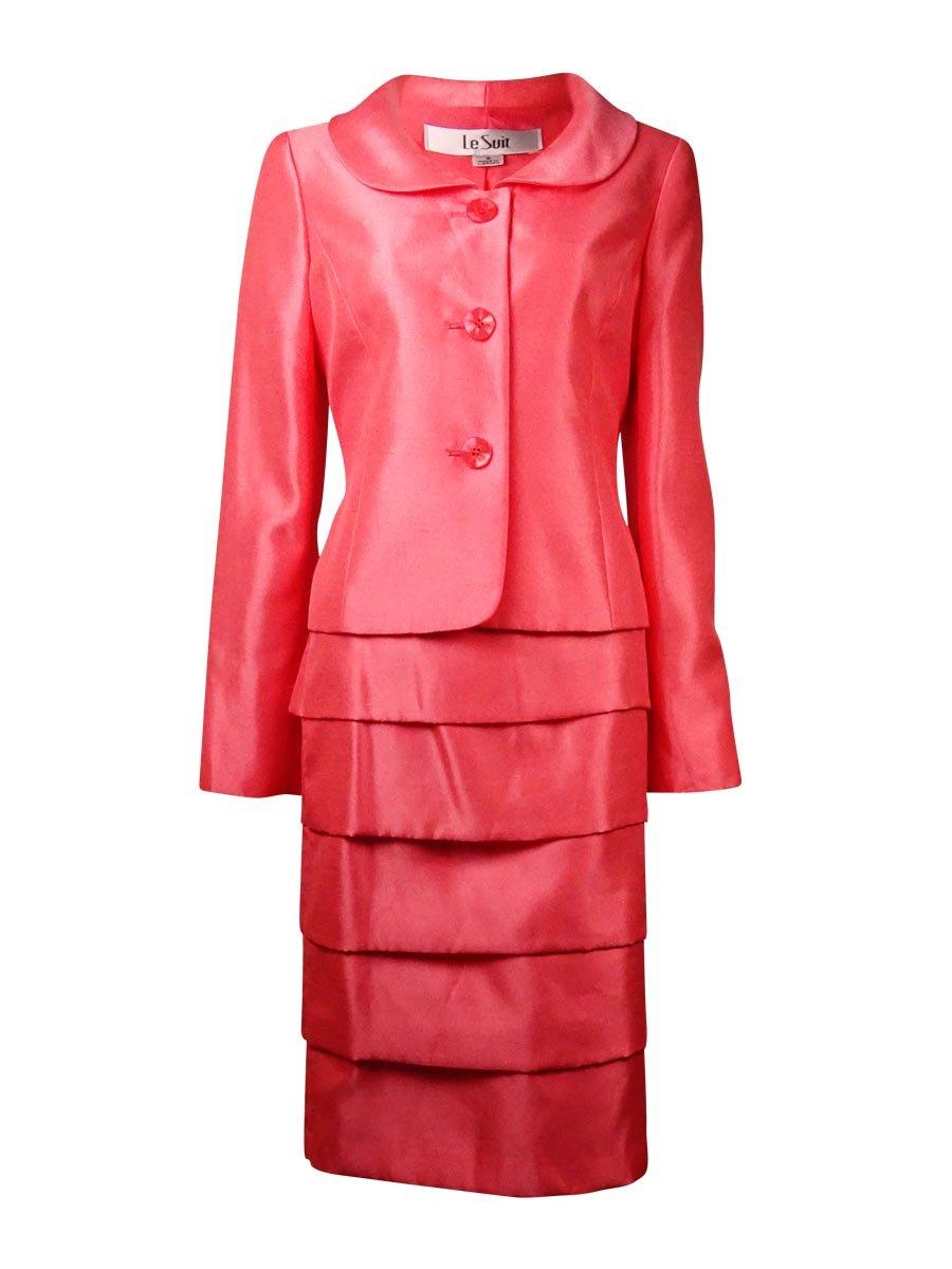 Le Suit Womens Petites City Blooms Shantung 2PC Skirt Suit Pink 12P