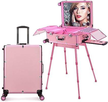 Estuche de tocador de maquillaje de peluquería 4 en 1 con altavoz Bluetooth Pantalla táctil Espejo iluminado Mesa de tren portátil Estación de maquillaje Vanity Cosmetic Trolley,Rosado: Amazon.es: Belleza