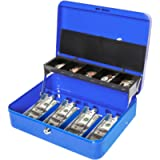 Jssmst Locking Large Metal Cash Box with Money Tray, Lock Money Box with Key, Blue, CB00513XL