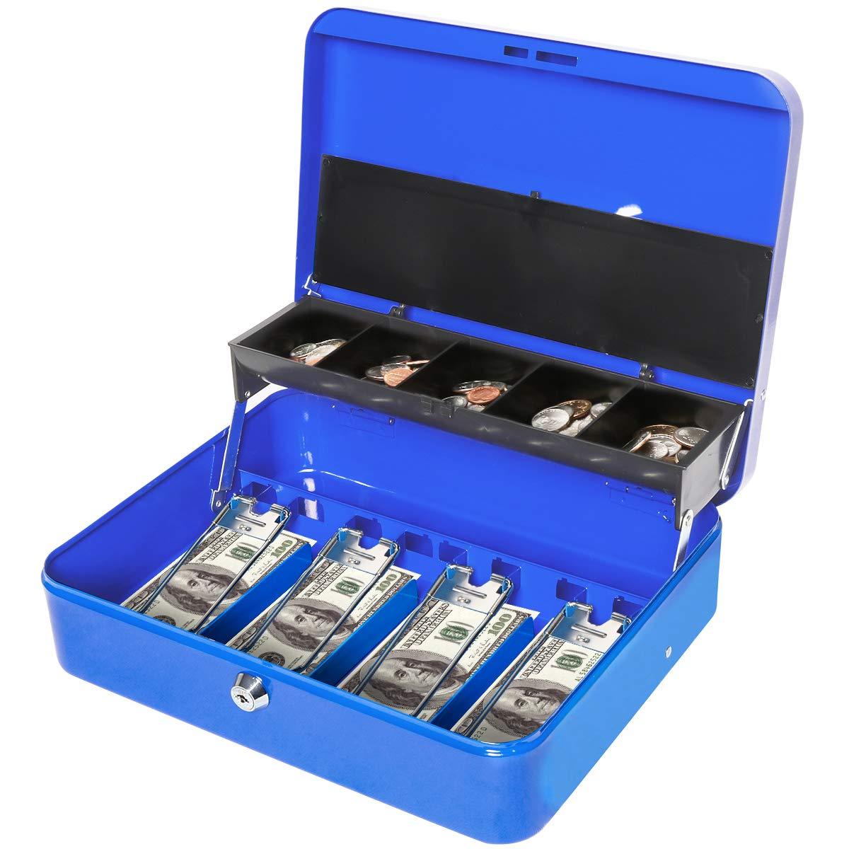 2656d0dce2df Jssmst Locking Large Metal Cash Box with Money Tray, Lock Money Box with  Key, Blue, CB00513XL